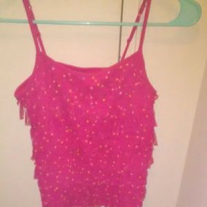 Girls pink fringe cami with polka dots